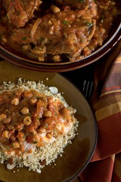 Moroccan-Style Braised Chicken Breasts with Warm Spices, Chickpeas and Tomatoes over Lemon-Almond Couscous