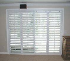 Bi Pass Plantation Shutters Closed With Louvers Open For Sliding Glass Door