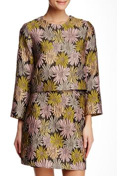 Love these winter florals // Cynthia Rowley Long Sleeve Crop Top & Skirt!