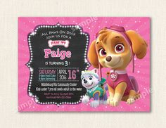 Paw Patrol Invitation - Skye - Marshall Customizable Paw Patrol Birthday Party Invite - Marshall - by PartyCity74 on Etsy