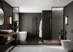 Nero Grafite waterproof bathroom panels, designed by Linda Barker for Multipanel. Bathroom Design Luxury, Modern Bathroom Design, Modern Classic Bathrooms, Luxury Hotel Bathroom, Hotel Bathrooms, Dream Home Design, Home Interior Design, Black Marble Bathroom, Marble Bathrooms
