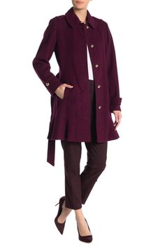 kate spade new york Belted Flare Hem Coat , Wool Blend, Kate Spade, Feminine, New York, Fashion Outfits, Crop Tops, Flare, Nordstrom Rack, Long Sleeve