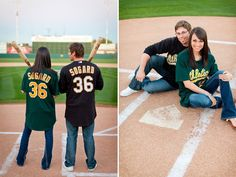 Adorable engagement session at the Oakland As spring training field