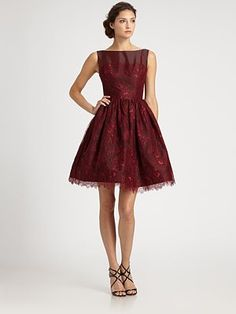 Stunning Vintage-inspired holiday cocktail dress  ML Monique Lhuillier Lace Overlay Dress #holidaywear #lulus