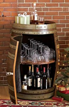 Home bar handcrafted from a retired wine barrel