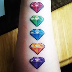 Spyro gems tattoo. The blue one should be darker and the purple one should be more magenta, like in the original games..