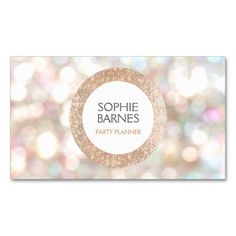 Stylish Bokeh and Rose Gold Sequin Event Planner 2 Pack Of Standard Business Cards Festive and fun design perfect for event organizers, party planners, beauty salons , makeup artist and more.