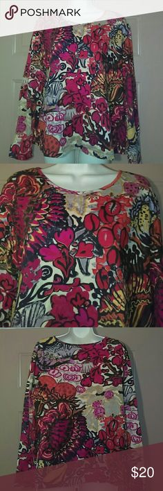 """CHICO'S TOP-SIZE 3-NWOT -Chico's Top -Chico's Size 3 -Never Worn -Long Sleeved -Very pretty colors -Armpit to armpit measures 24"""" -Shoulder to bottom hem is 25"""" -95% Cotton, 5% Spandex -Very Nice Looking Chico's Tops Tees - Long Sleeve"""