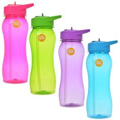 Stay hydrated with these handy 25-oz. refillable water bottles with straw spouts! Slim translucent water bottles with conveniently attached screw-on caps and flip-up straws are perfect for cyclists, r