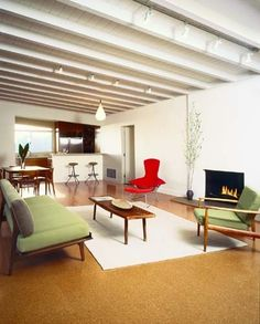 Restored mid century 1956 modern home malibu hills for Cork flooring for basements