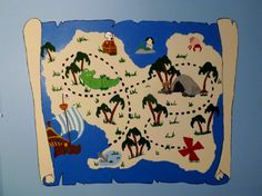 Jake and the Neverland Pirates treasure map. I painted this on my 1 year old nephews wall. His favorite cartoon.
