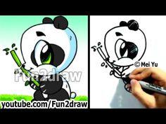 How to Draw a Cartoon Panda - Cute Pandas - Kawaii panda bear - Cartoon Baby Animals, Cartoon Panda, Baby Animals Pictures, Cute Animals, Draw Animals, Cute Animal Drawings, Pencil Art Drawings, Cartoon Drawings, Cute Drawings