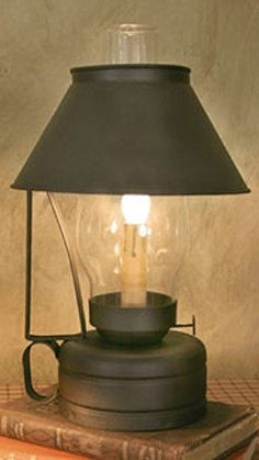 Colonial Lamp Electric Livery Stable Lantern Lamp with Hand Blown Chimney Primitive Lamps, Primitive Lighting, Primitive Bathrooms, Country Primitive, Antique Oil Lamps, Vintage Lamps, Vintage Lighting, Lantern Lamp, Candle Lanterns