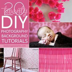 save hundreds by making your own #photography backgrounds and #backdrops - these are the 20 best tutorials on the web! each has step-by-step instructions so you can set up a DIY photo studio.