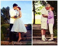 On your 50th Anniversary, take a picture with your spouse the same place you took it when you were first married in the same pose