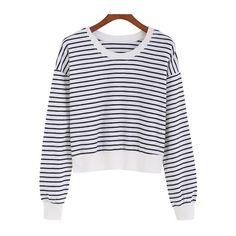 SheIn(sheinside) Black White Round Neck Striped Crop Sweatshirt ($14) ❤ liked on Polyvore featuring tops, hoodies, sweatshirts, black, black and white crop top, sweatshirts hoodies, sweat shirts, cropped sweatshirt and sweatshirt crop top