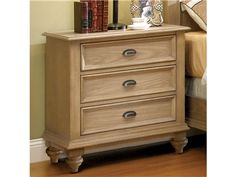 Shop for Riverside 3-drawer Nightstand, 109522, and other Bedroom Nightstands at Oskar Huber Furniture in Southampton, PA and Ship Bottom, NJ. Drawers have dovetail joinery and ballbearing extension guides. Bottom drawer has a Cedar veneer bottom, all others are felt-lined.