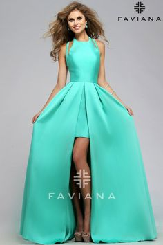 Frosted Satin with Attached Split Front Overskirt Dress FAVIANA STYLE 7752