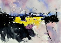 abstract 218012 by Pol Ledent. Watercolor on paper. #art #painting