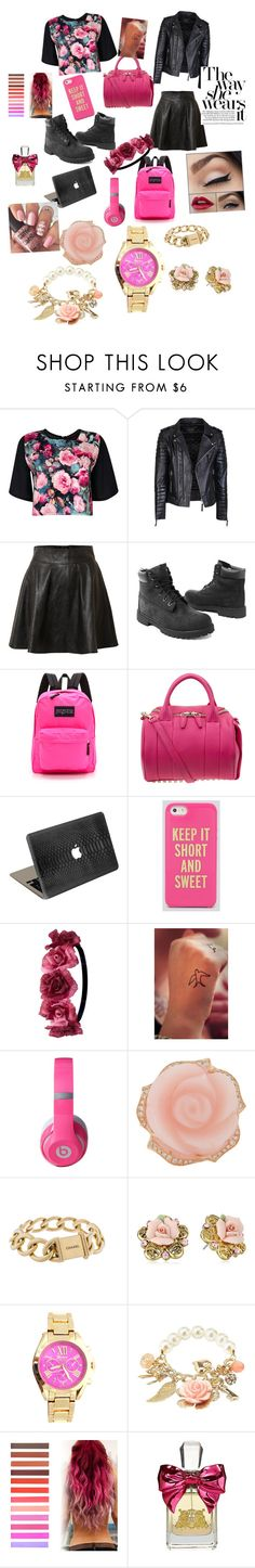 """""""Pink Is life some days but roses will always stay"""" by wymte ❤ liked on Polyvore featuring Boohoo, Vero Moda, Timberland, JanSport, Alexander Wang, Valentine Goods, Kate Spade, Charlotte Russe, Beats by Dr. Dre and Irene Neuwirth"""
