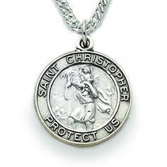 Lex /& Lu Sterling Silver Mens Saint Christopher Ring
