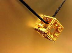 Fractal Hypercube Pendant 3d printed Polished gold steel