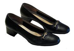 Salvatore Ferragamo Block Heel Leather Pump Shoes (Black) 9B on EAU DE LIS