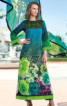 Picture of Green and Aqua Blue Indian Churidar Kameez