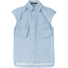 Karl Lagerfeld Cotton Blouse ($220) ❤ liked on Polyvore featuring tops, blouses, shirts, blusas, blue, snap front shirt, metallic blouse, blue top, metallic shirt and pocket shirt