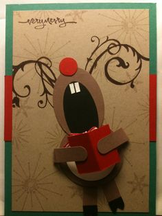 Singing Reindeer--card or classroom door decoration idea. Christmas In July, Christmas Art, Reindeer Christmas, Reindeer Craft, Reindeer Games, Funny Christmas, Christmas Stuff, Christmas Ornament, Arte Punch