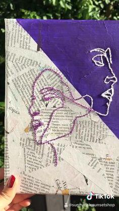 Easy Canvas Art, Mini Canvas Art, Diy Canvas, Small Canvas Art, Hand Embroidery Art, String Art, Diy Painting, Art Projects, 3d Origami Tutorial