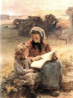 La Lecon de lecture rural scenes peasant Leon Augustin Lhermitte art for sale at Toperfect gallery. Buy the La Lecon de lecture rural scenes peasant Leon Augustin Lhermitte oil painting in Factory Price. Reading Art, Woman Reading, Reading Lessons, Reading Aloud, Children Reading, Reading Books, World Of Books, Paintings I Love, Beautiful Artwork