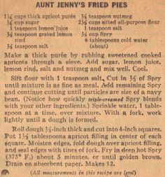Aunt Jenny's Apricot Fried Pies – Vintage Recipe Clipping Retro Recipes, Old Recipes, Vintage Recipes, Cookbook Recipes, Cooking Recipes, Recipies, Blender Recipes, Unique Recipes, Family Recipes
