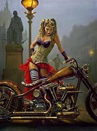 Trendy Chopper Motorcycle Art Pin Up Biker Chick, Biker Girl, Art Moto, Arley Queen, Motos Harley, Harley Davidson Motorcycles, Photo Vintage, Motorcycle Art, Steampunk Motorcycle