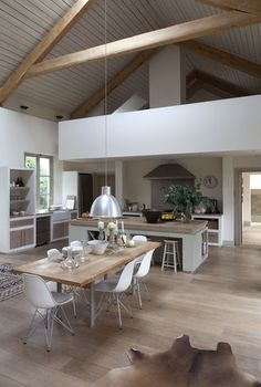 This is kind of the scandinavian style I like. I little country and a little modern but most of all relaxed, uncomplicated and functional Modern open-plan country kitchen