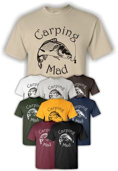 "Mens ""Carping Mad"" Carp Fishing T-Shirt on Etsy, £8.99"