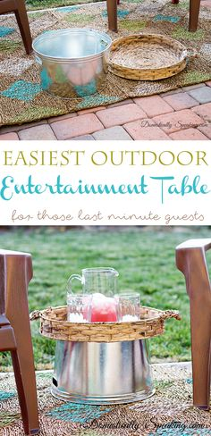 Easiest Outdoor Entertaining Table great idea to create more table space for your outdoor parties Outdoor Parties, Outdoor Entertaining, Outdoor Rooms, Outdoor Living, Outdoor Fun, Outdoor Ideas, Outdoor Furniture, Entertainment Center Decor, Diy Tv