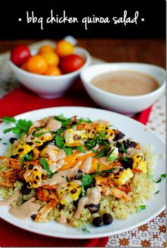 BBQ Chicken Quinoa Salad is a healthy party on a plate! | iowagirleats.com