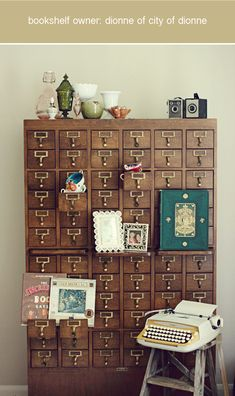 vintage library card catalog---I want one of these so bad! Handmade Home, Repurposed Card Catalog, Rooms Ideas, Herringbone Wall, Vintage Library, Style Deco, Library Card, Home Interior, Interior Livingroom
