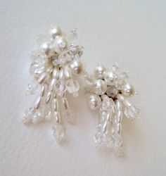 Vintage 80s Retro Kitsch Wedding Bridal Clear Faceted Glass Faux Pearl Beaded Cluster Earrings by ThePaisleyUnicorn, $12.00