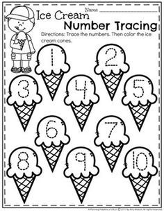 FREE Preschool Number Tracing Worksheets for Summer Pre K Worksheets, Summer Worksheets, Kindergarten Math Worksheets, Preschool Curriculum, Preschool Printables, Preschool Learning, Preschool Activities, Maths, Homeschooling