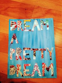Diy painted canvas - Magazine pages as letters