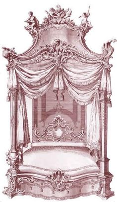 A design by Thomas Chippendale for King George III circa 1792 4 Poster Bed Canopy, Four Poster Bed, Poster Beds, Bed Crown, Bedding Inspiration, Interior Rendering, Curtain Designs, Illustration Sketches, Illustrations
