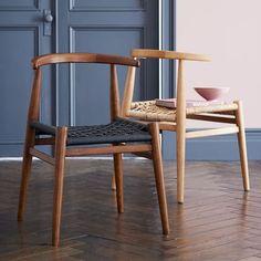 John Vogel Dining Chair Set of 2, Almond/Jute
