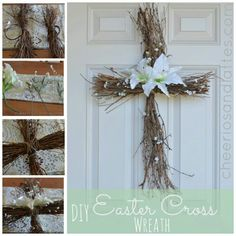 Diy Easter Cross Wreath twigs and lilly