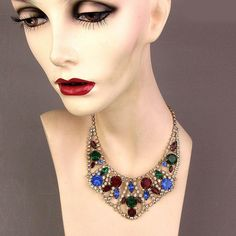 Vintage Multi-Color Rhinestone Collar Necklace 1950s Hollywood from greatvintagestuff on Ruby Lane