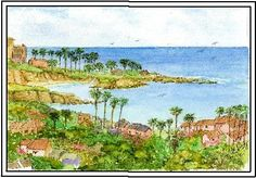 This fabulous pen and ink of La Jolla Shores is a watercolor by one of our featured artists, Leah Higgins.