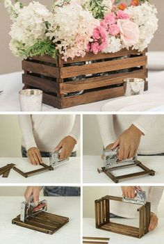 DIY Rustic Stick Basket: Never throw away the paint stir sticks next time! Check out this one, you will find you can use them to a beautiful and inexpensive basket as a decorative centerpiece or as stylish storage on a shelf. - Rustic Home Decor Diy Diy Décoration, Diy Crafts, Diy Wedding Crafts, Acorn Crafts, Diy Wedding Projects, Diy Projects Rustic, Small Wooden Projects, Garden Crafts, Paint Stir Sticks
