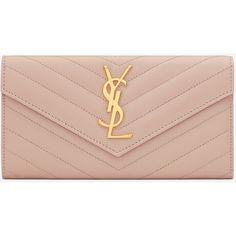 Large Monogram Saint Laurent Flap Wallet In Pale Pink Grain De Poudre... (1 030 AUD) ❤ liked on Polyvore