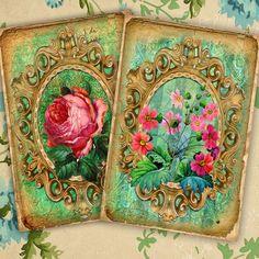 Vintage paper Floral Digital Paper Floral Paper by rosaliks Vintage Paper, Pink Roses, Decorative Boxes, Poster, Etsy, Digital, Handmade Gifts, Floral, Favorite Things